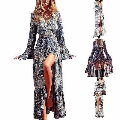 Print Boho Maxi Long Dress   Long Bell Sleeve   Cotton Rayon   2 Days Shipping