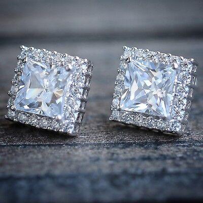 Mens Ladies White Gold Over Silver Square Micro Pave Diamond Stud Earrings Diamond Micro Pave Square