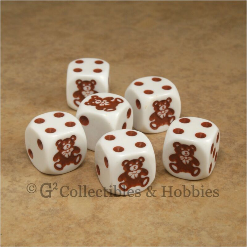 NEW Set of 6 Teddy Bear Dice Six Sided Game RPG Bunco D6 Koplow 16mm 5/8 inch