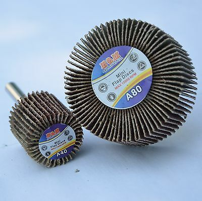 10pcs Flap Wheels 1 In X 58 X 14 Aluminum Oxide 40 Grit Shank Sanding Disc.