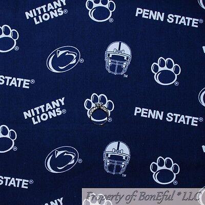 BonEful Fabric FQ Cotton Quilt Navy Blue White Penn State University College Paw ()