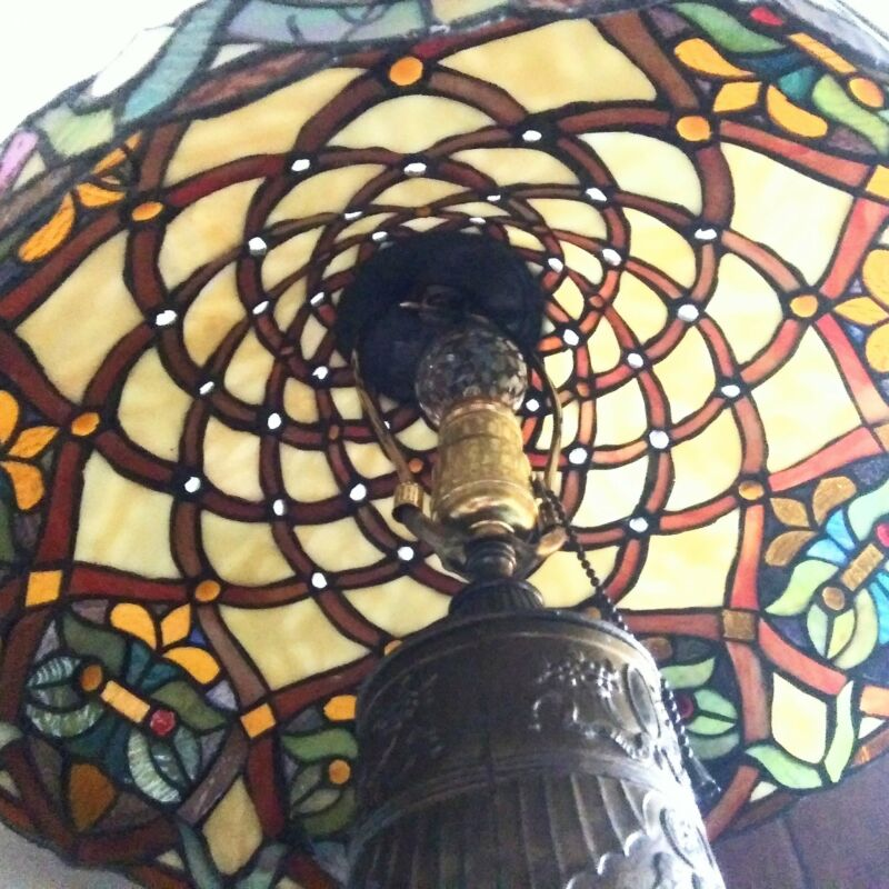 1910s-25s Stained & Slag Glass Table Lamp w/ 1910-15 Beaux Arts Base