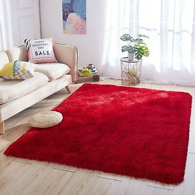 Solid Deep Red Soft Super Thick Dense Living Room Bedroom Shaggy Shag Area Rug Square Red Shag Rug