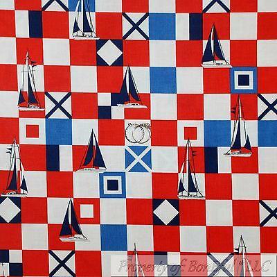 BonEful Fabric Cotton Quilt Red White Blue American Nautical Sail Boat NR SCRAP
