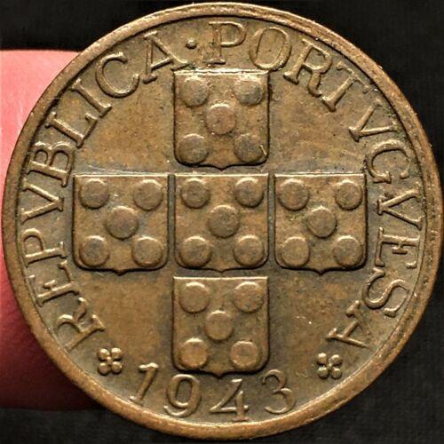 1943 Portugal 20 Centavos, War World 2 Era Bronze Coin, KM# 584, Better Date, AU
