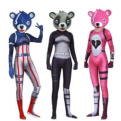 Team Leader Pink Cuddle Bear New Skin Outfit Cosplay Costume Halloween Jumpsuit