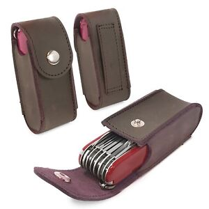 TUFF LUV Leather Belt Pouch for Victorinox Swiss Army Knife (5-8 layers) -Brown