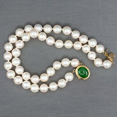 Vintage 7mm Akoya Pearl Double Strand Bracelet with Green Jade Clasp in - Strand 7mm White Pearl Bracelet