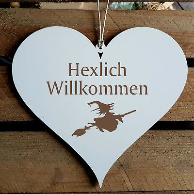 Schild Herz « HEXLICH WILLKOMMEN » Türschild Hexe Hexen Halloween Wicca Haustür