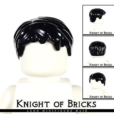 LEGO Minifigure Hair BLACK 62810 Male Boy Short Tousled with Side Part City Town - Part City