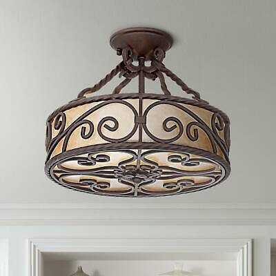 "Rustic Ceiling Light Fixture Semi Flush Mount Scroll 15"" wid"