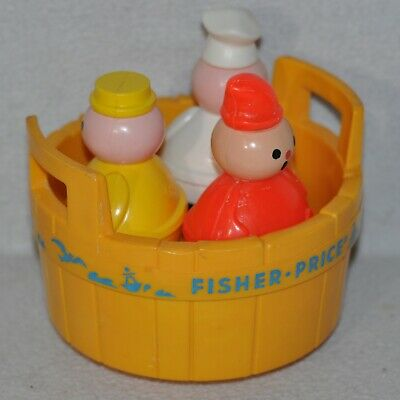 Vintage Fisher Price #142 Rub A Dub Dub Three Men in a Tub Plastic Bath Toy 0619