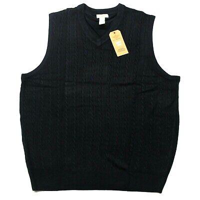 Men's Big & Tall Dockers Cable Knit Acrylic Sweater Vest (81004TKF) Navy Blue Knit Sweater Vest