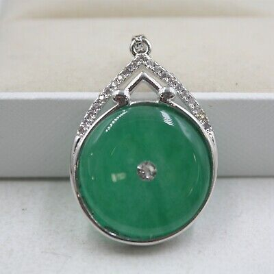 Hot Sale GP Alloy & Green Jade Round For Women Pendant 37*16mm Best Gift