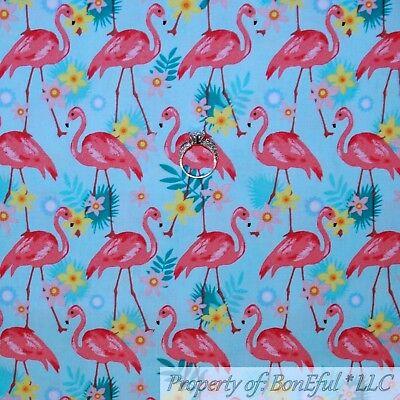 BonEful FABRIC Cotton Quilt Blue Pink FLAMINGO Bird Beach Ocean Florida 3D SCRAP