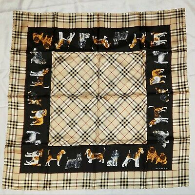 "AUTHENTIC BURBERRY MINT CONDITION TWILL SILK SCARF 34.5"" NOVACHECK DOGS BLACK"