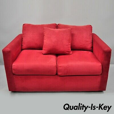 Red Microfiber Single Twin Pullout Leggett & Platt Sofa Bed Loveseat Pull Out Couch