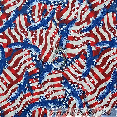 BonEful Fabric FQ Cotton Quilt Red White Blue America*n Flag Eagle Star Vet*eran