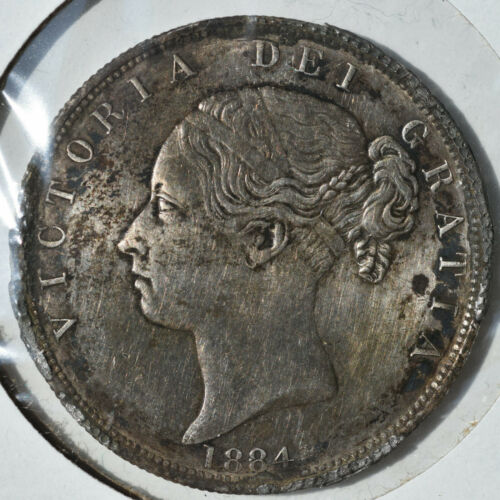1884 1/2 Crown Queen Victoria Young Head Half Scarce Almost Uncirculated Details