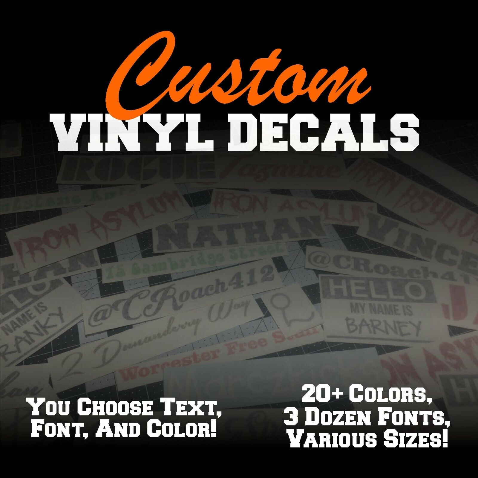 Custom Vinyl Lettering Decal Personalized Sticker Window Tex