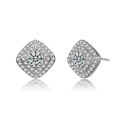 Rozatto Rhodium Plated Clear Round Cubic Zirconia Halo Square Stud Earrings