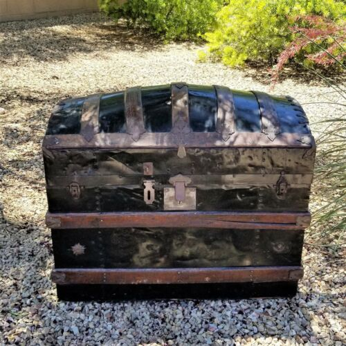 "32"" Antique Vintage Victorian Dome Humpback Steamer Trunk Chest Barrel Top"
