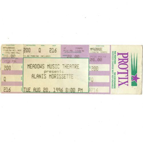 ALANIS MORISSETTE & RADIOHEAD Concert Ticket Stub HARTFORD 8/20/96 MEADOWS Rare