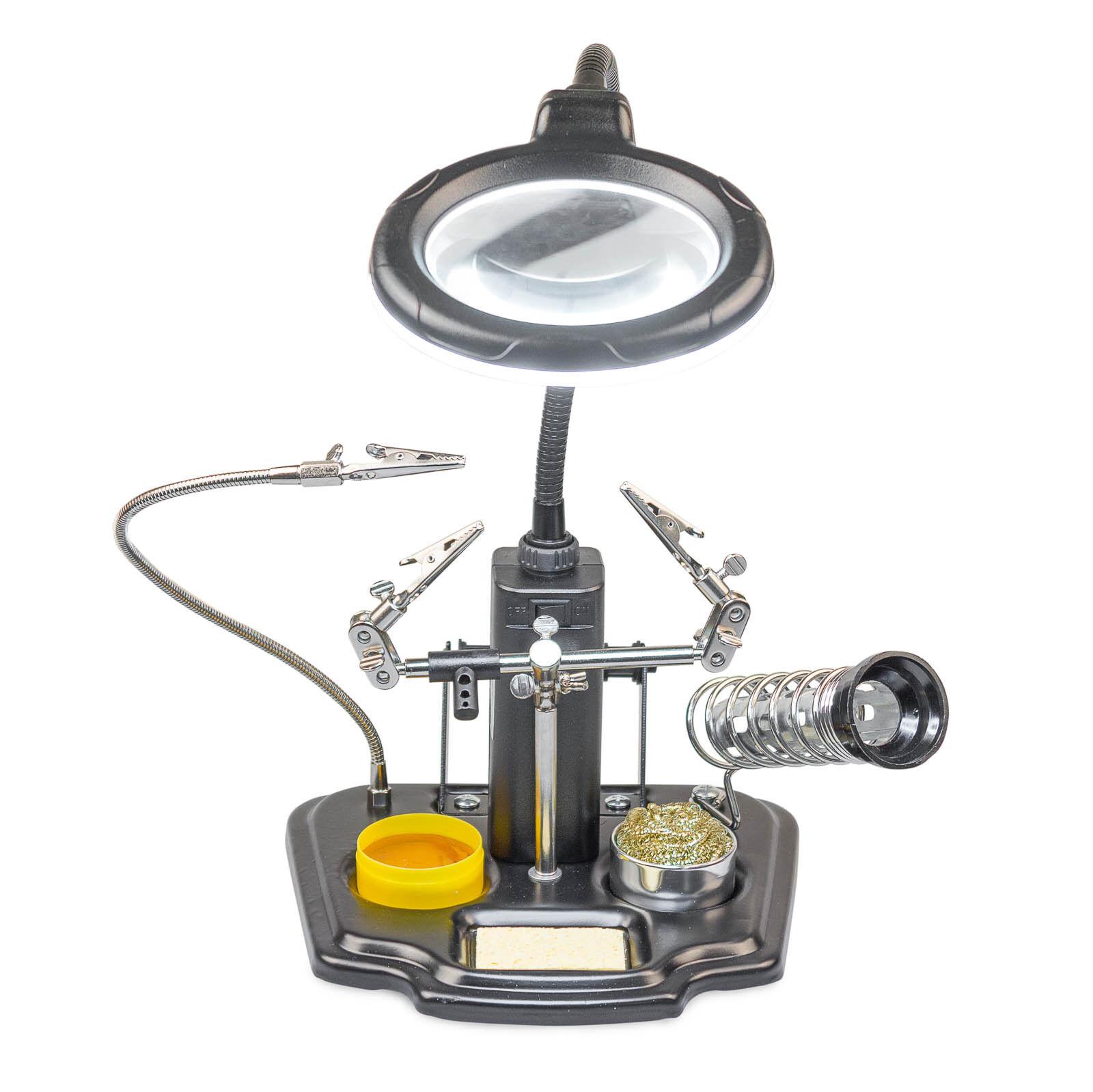 Dritte Hand mit Vergrößerungsglas Lupe + LED Beleuchtung Löthilfe Lötstation