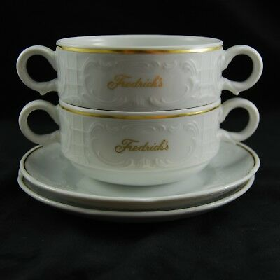 Bauscher Weiden Soup Bowls Germany 2 White w/ Gold Trim Saucers Fredrick Family