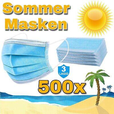 500 Stück Sommer Masken Blau Maske 3-lagig Einweg Hygienemaske Schutz Gummiband