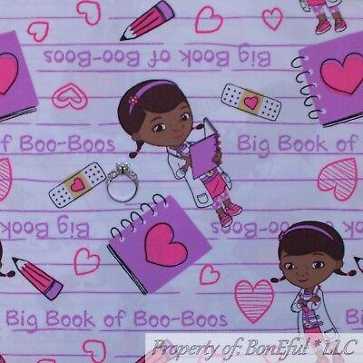 BonEful FABRIC FQ Cotton Quilt White Purple Pink Doc Mc Stuffins Dr Girl School](Doctor Stuffins)