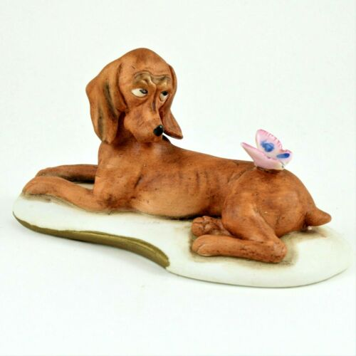 Vintage  Bisque Hound Dog Figurine with Butterfly on his Back