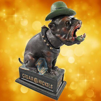Spardose Mechanische Bulldoge mit Zigarre Weihnachten Geschenk Vintage Deko