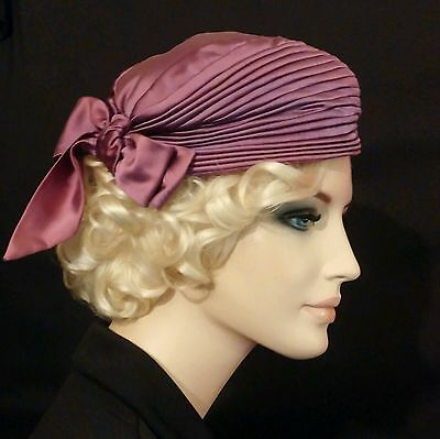 Vintage purple hat 1950s pleated with bow