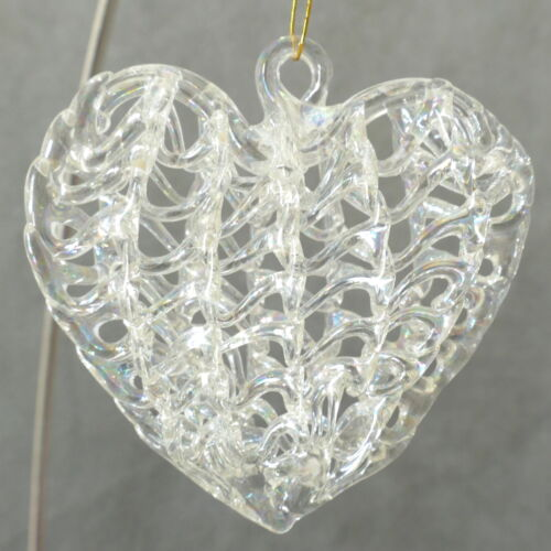 💖 Christmas Ornament Glass UNSILVERED Clear Crystal VALENTINE HEART USA SELLER