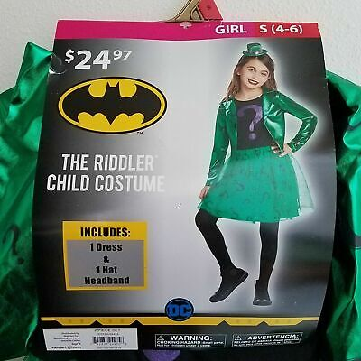Riddler Costume For Girls (NEW Riddler Girl Halloween Costume Cosplay S 4-6 M 8-10 Dress Hat Batman)