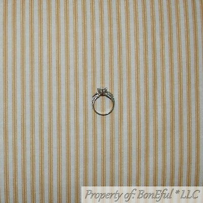 BonEful FABRIC Cotton Quilt Ivory Gold Mustard Yellow Holiday Stripe Xmas SCRAP
