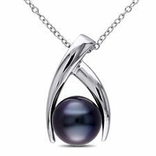 Amour Sterling Silver Tahitian Black Pearl Necklace (9.5-10 mm)