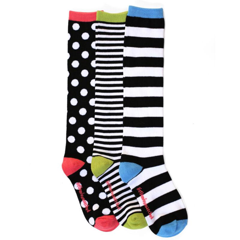 LittleMissMatched Marvelous Black White Dot Knee High Socks  - 3 Sock