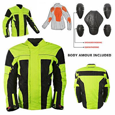 Men's Reflective Hivis Black Yellow Motorcycle Jacket Textile Armour (Motorcycle Reflective Cordura Textile Jacket)