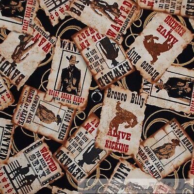 BonEful Fabric FQ Cotton Quilt VTG Black Brown Bronco Cowboy Lasso Rope L -
