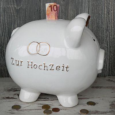 riesen großes Sparschwein Hochzeit 30cm XXL Geldgeschenk Spardose Keramik weiß