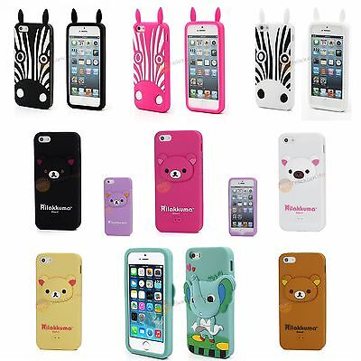 Iphone 5 Zebra (iPhone 5, 5S, SE 3D Bär Zebra Elefant TPU Silikonhülle für iPhone 5, 5S, SE)