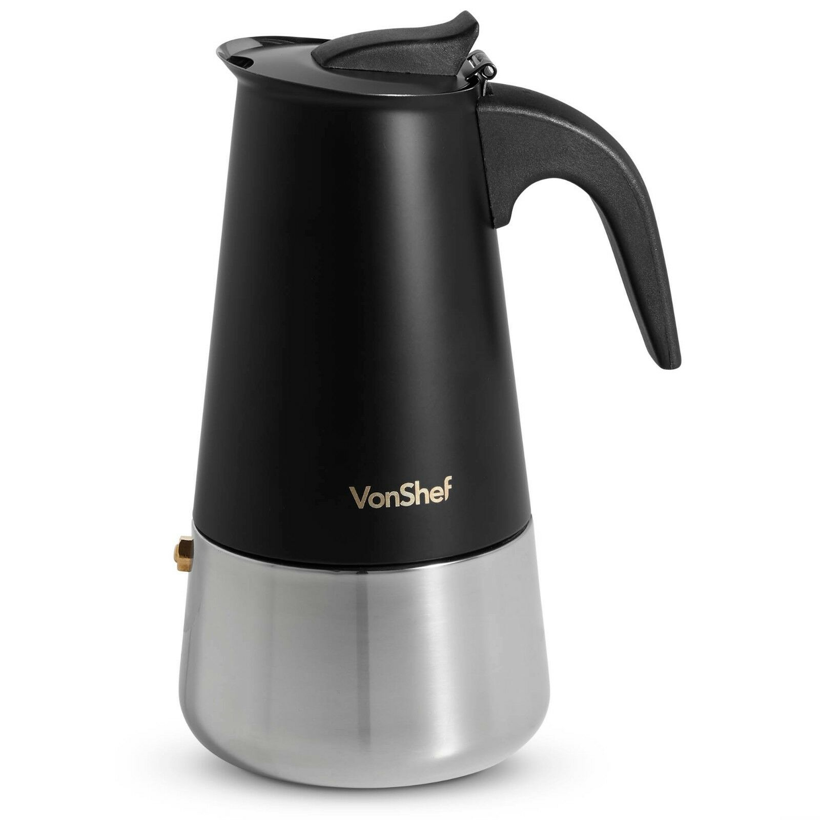 VonShef 6 Cup Espresso Maker Black Stainless Steel Stove Top