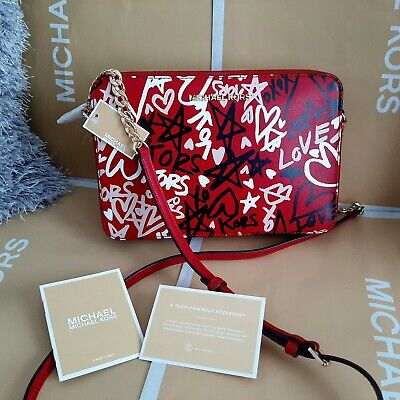 Genuine Michael Kors Jet Set Large Crossbody - GRAFFITI  Scarlet Red Leather Bag