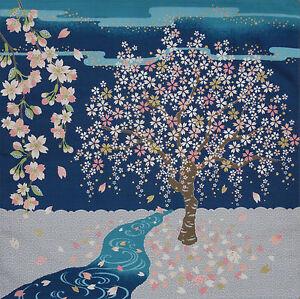 Japanese cherry blossom Furoshiki Japanese Cotton Fabric 'Sakura Stream' 50cm
