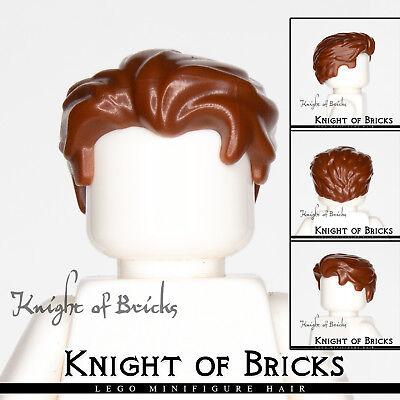 LEGO Minifigure Hair BROWN 25972 Male Boy Swept Back Widow's Peak Side](Back Boys)