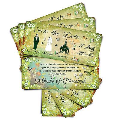 Save the Date ● Einladungskarten zur Hochzeit ● Märchenhochzeit - grün
