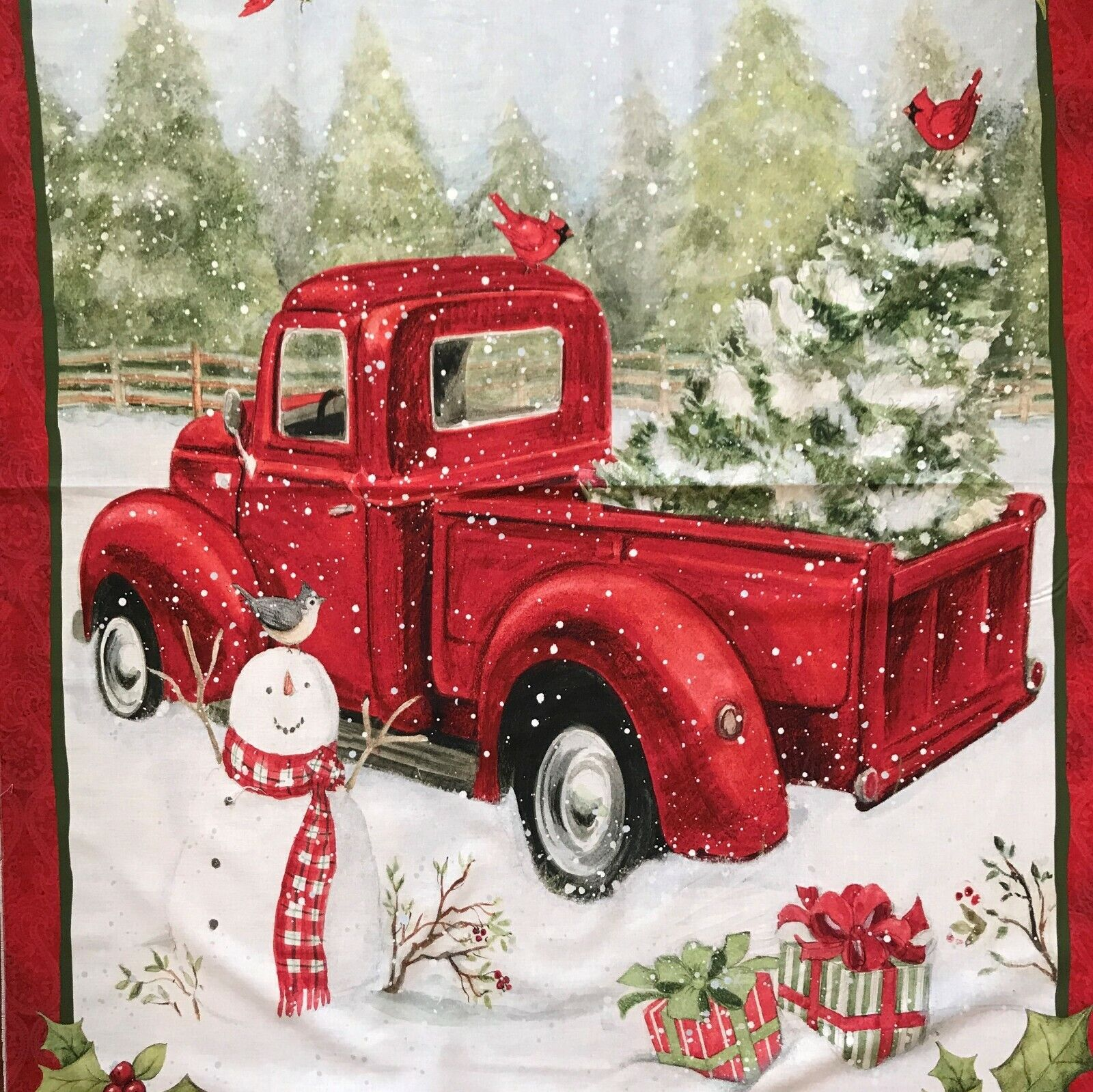 """Fabric Panel Red Truck and Snow Man Christmas Fun 36"""" x 44"""""""
