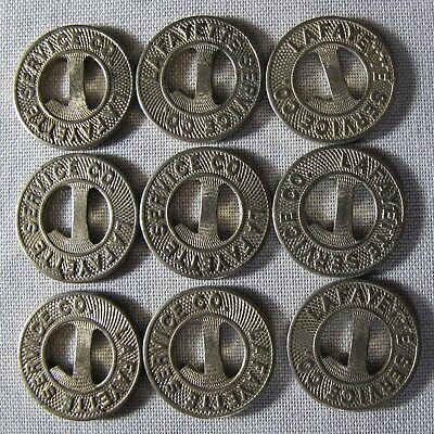 9 SCARCE Lafayette Indiana Service Co. Railway Tokens  whotoldya Lot 83118
